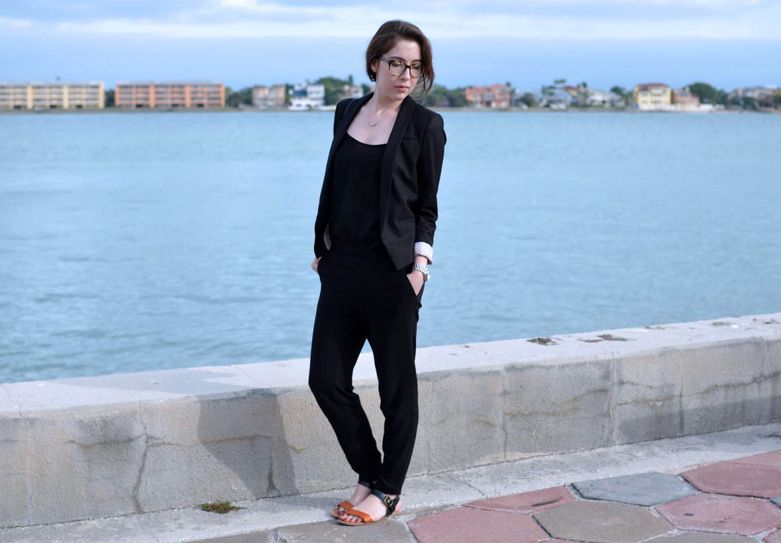 All black OOTD, with H&M trousers, blazer, and tank top, with a Coach bag and Target sandals.