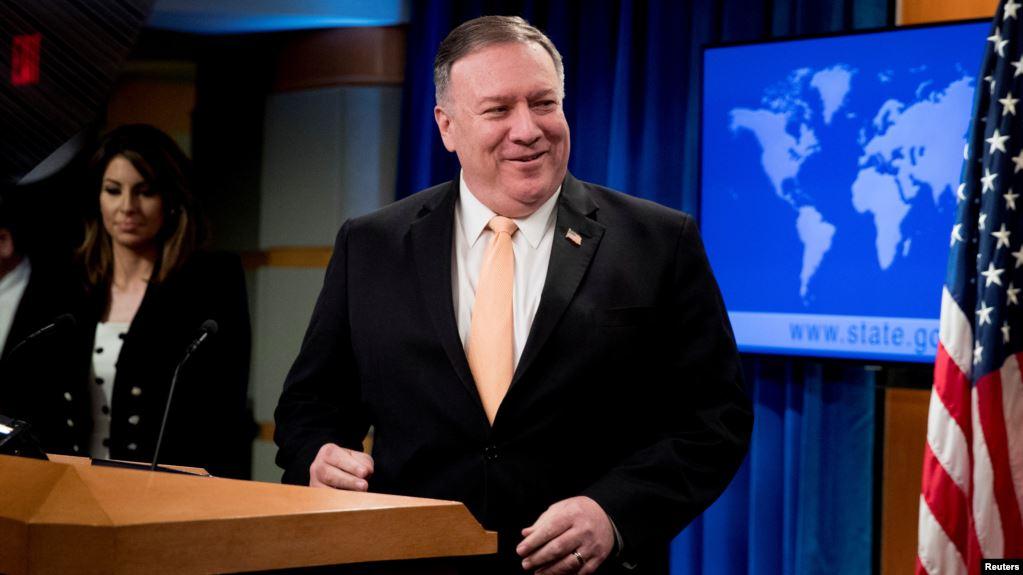 El secretario de Estado, Mike Pompeo, acompañado por la portavoz del departamento, Morgan Ortagus, anunció la propuesta de Washington en una rueda de prensa virtual / REUTERS