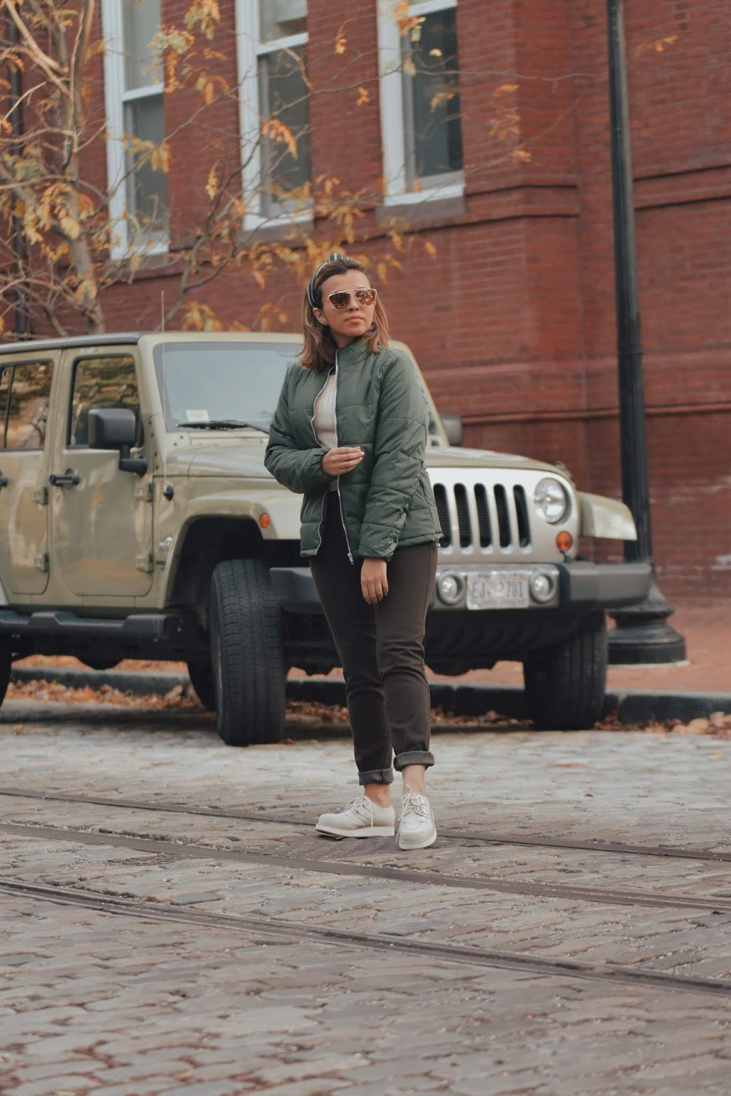 Army Green Quilted Zip-Up Puffer Parka Jacket-mariestilo-lookoftheday-dcblogger-streetstyle-fashionblogger-lookbook store-lbsdaily-moda-