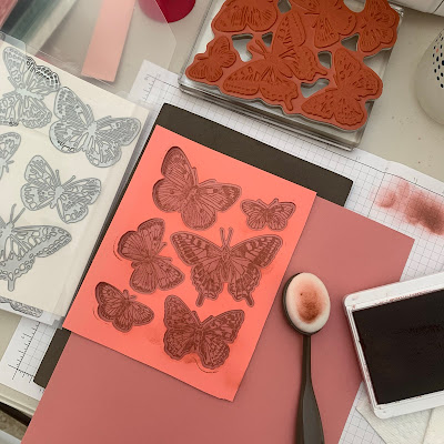Tools used to create a mat for coloring Butterfly Brilliance Stamps