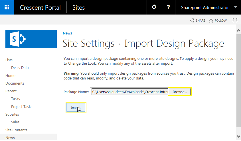 sharepoint 2013 import design package powershell