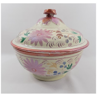 4939 Antique Pink Lustreware Lidded Waste Bowl-main view