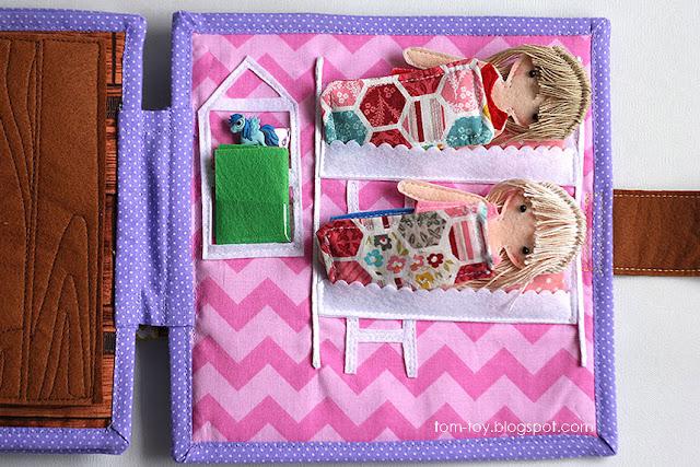 Handmade quiet book Dollhouse, busy book for girl, bedroom, Развивающая книжка Кукольный домик, спальня