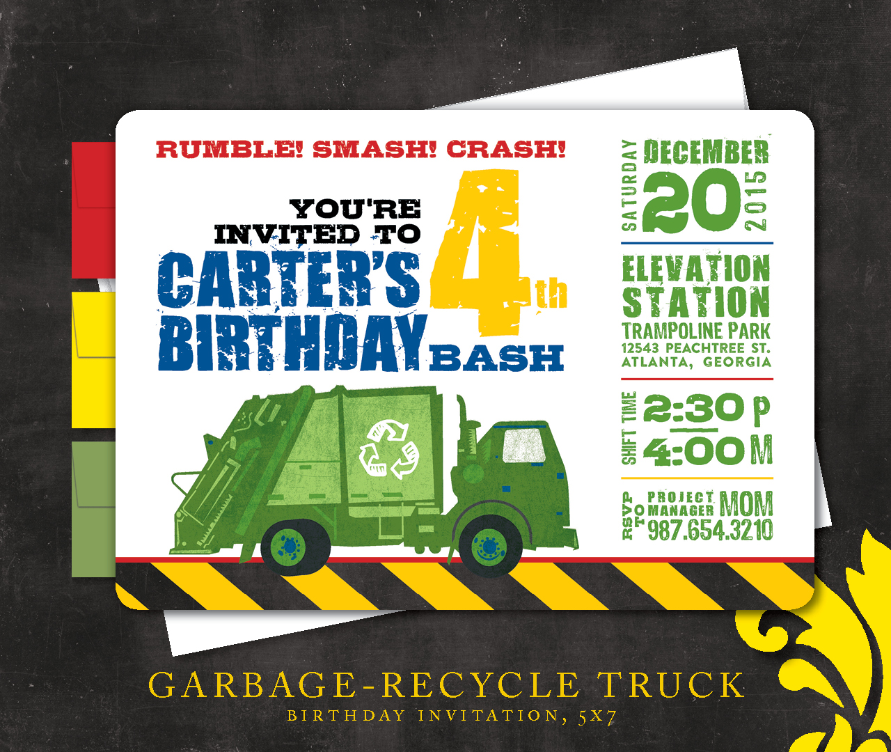Nealon Design GARBAGE Recycle Truck Birthday Invitation