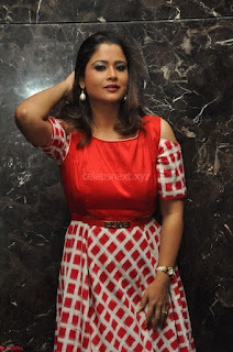 Shilpa Chakravarthy looks super cute in Red Frock style Dress 007.JPG