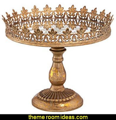 "Fluer de Lis Gold 11 1/4"" Wide Decorative Cake Stand"