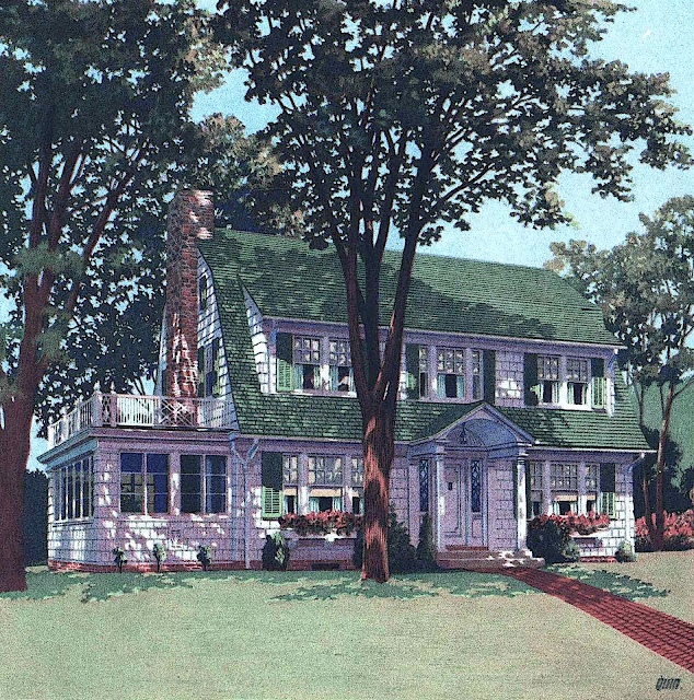 an illustration from a 1925 sales catalog showing the beatiful exterior of a large house in dappled tree shade