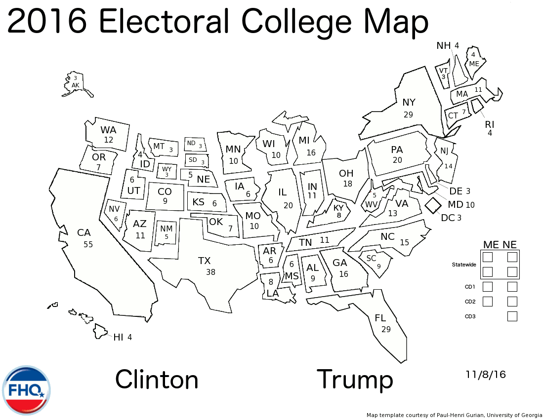 Frontloading HQ - Map of us without electoral college 2016