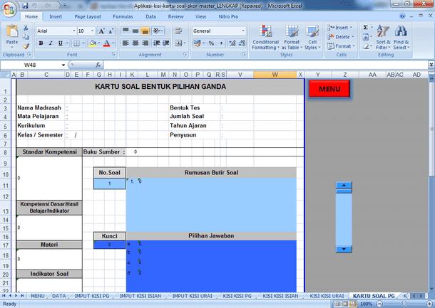 Contoh Aplikasi Kisi-Kisi dan Skor Kartu Soal Format Microsoft Excel