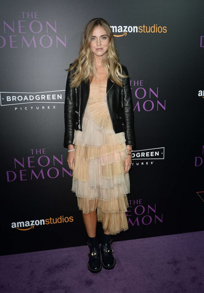 Chiara Ferragni wears a ruffled dress to 'The Neon Demon' LA premiere