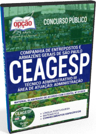 Apostila CEAGESP 2018 Técnico Administrativo III
