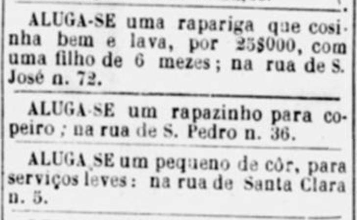 Anúncios classificamos com oferta de aluguéis de escravos em 1886