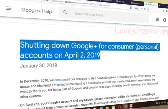 Google+' is about to stop their Providing Services, In this