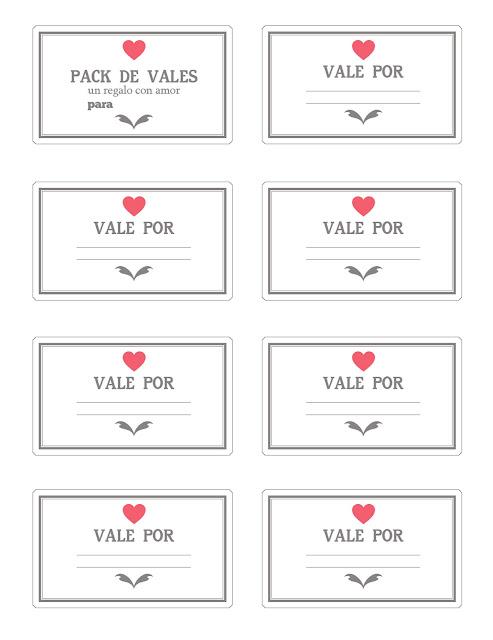 Regalos manuales de amor Imprimibles Vales / Cupones de amor para - boletos de rifas para imprimir gratis