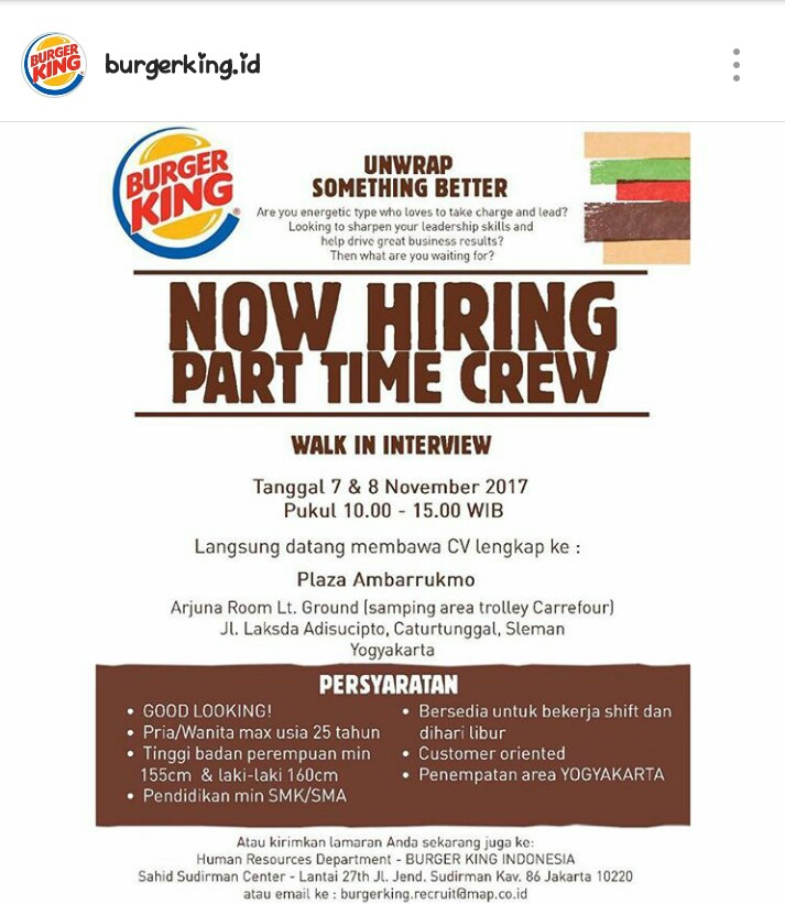 Walk In Interview Lowongan Kerja Part Time Di Burger King November 2017 Dibacaonline