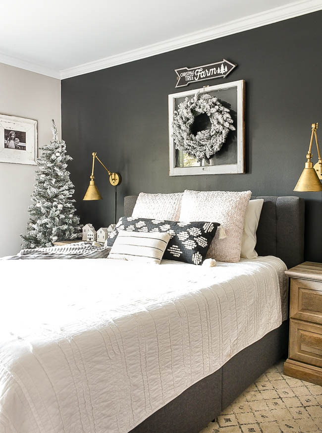 Neutral rustic luxe holiday bedroom decor