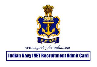 Indian Navy INET Recruitment Admit Card