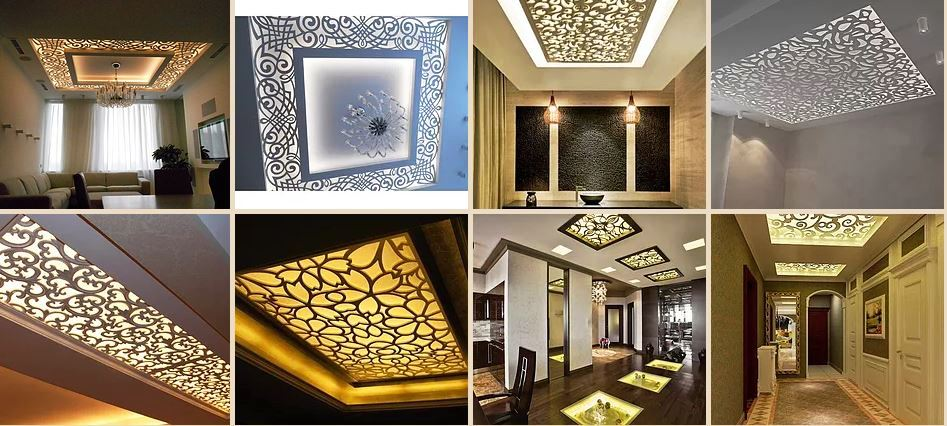 Luxury 42 CNC false ceiling design with LED 2018