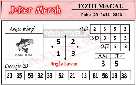 Prediksi Joker Merah Toto Macau Rabu 29 Juli 2020