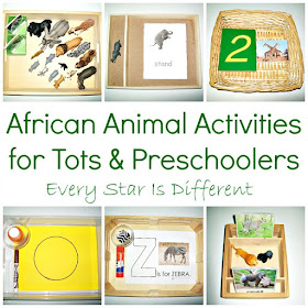 Animals of Africa Activities for Tots and Preschoolers with Free Printables