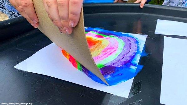 Scrape Painted Rainbows - Process Art