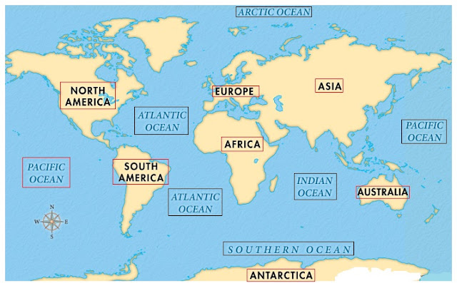 Oceans and Continents In The World