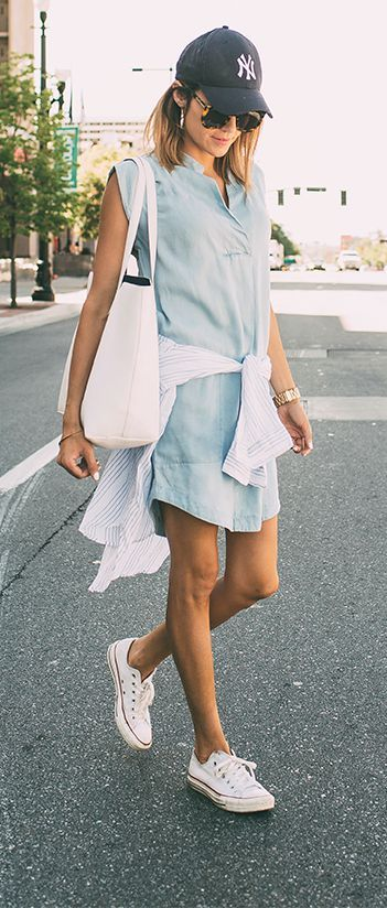 cute summer outfit: dress + sneakers + bag