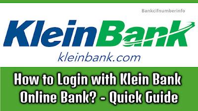Klein Bank Online login