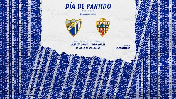 El Málaga - Almería, hoy en abierto por GOL a las 19:30 horas