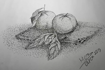 Menggambar Buah Jeruk Dengan Teknik Pointilis