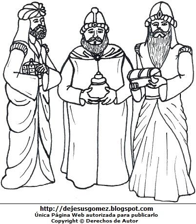 Dibujo de los Reyes Magos para colorear pintar imprimir. Imagen de los Tres Reyes Magos de Jesus Gómez