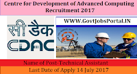 Centre for Development of Advanced Computing Recruitment - Technical Assistant