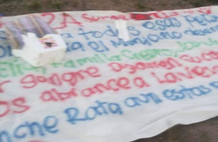 """""""Déjense de m..madas"""", Sicarios del CJNG dejan advertencia en narcomanta en San Luis Potosí, """"No queremos derramar sangre"""""""