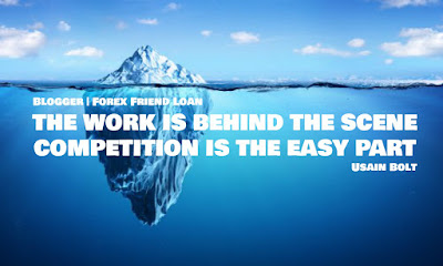 THE WORK IS BEHIND THE SCENE. COMPETITION IS THE EASY PART. Usain Bolt. Quote. Motivational Quote. Forex Quote.