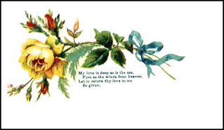 Victorian calling card with a yellow rose and blue ribbon.