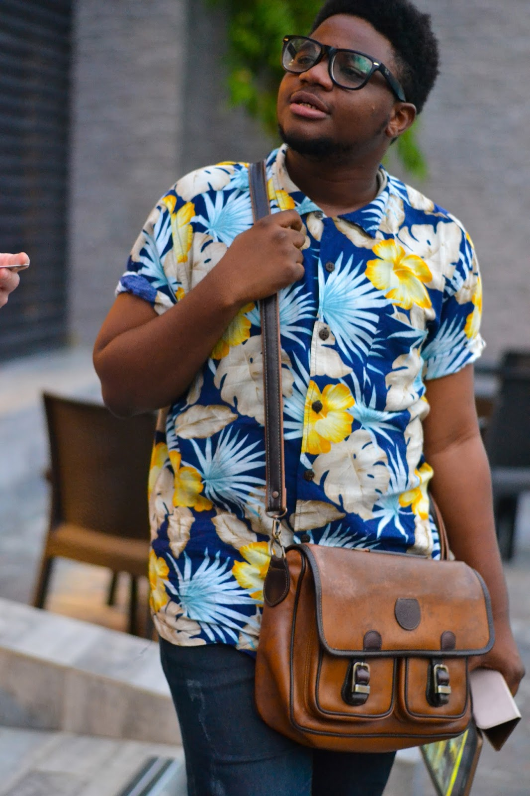Black Man in Blue Hawaiian Shirt