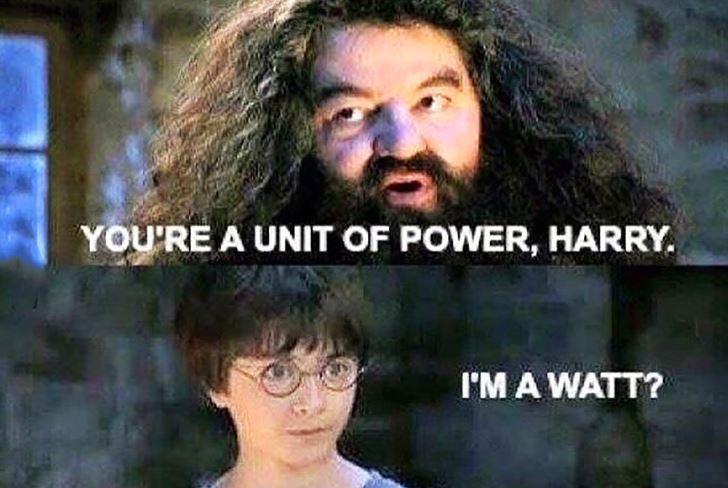harry potter physics james watt meme