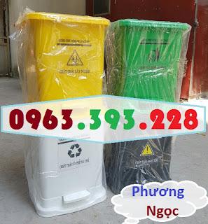Thùng rác đạp chân y tế, thùng rác y tế nhựa HDPE, thùng rác bệnh viện TRYT2