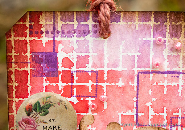 Layers of ink - Dimensional Rose Tag Tutorial by Anna-Karin Evaldsson. With Simon Says Stamp Solid Grid Background stamp.