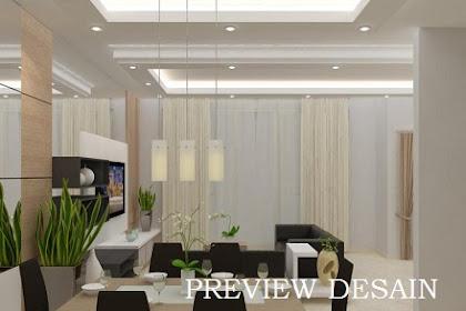 Preview desain ruang keluarga menyatu dengan ruang makan