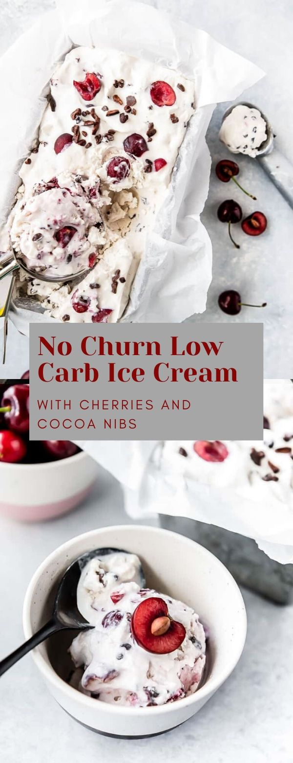 NO CHURN LOW CARB ICE CREAM WITH CHERRIES AND CHOCOLATE CHIPS