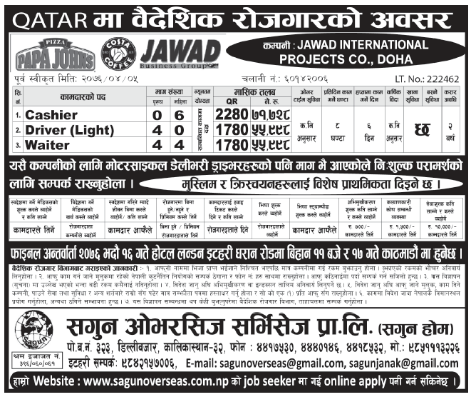 Jobs in Qatar for Nepali, Salary Rs 71,728
