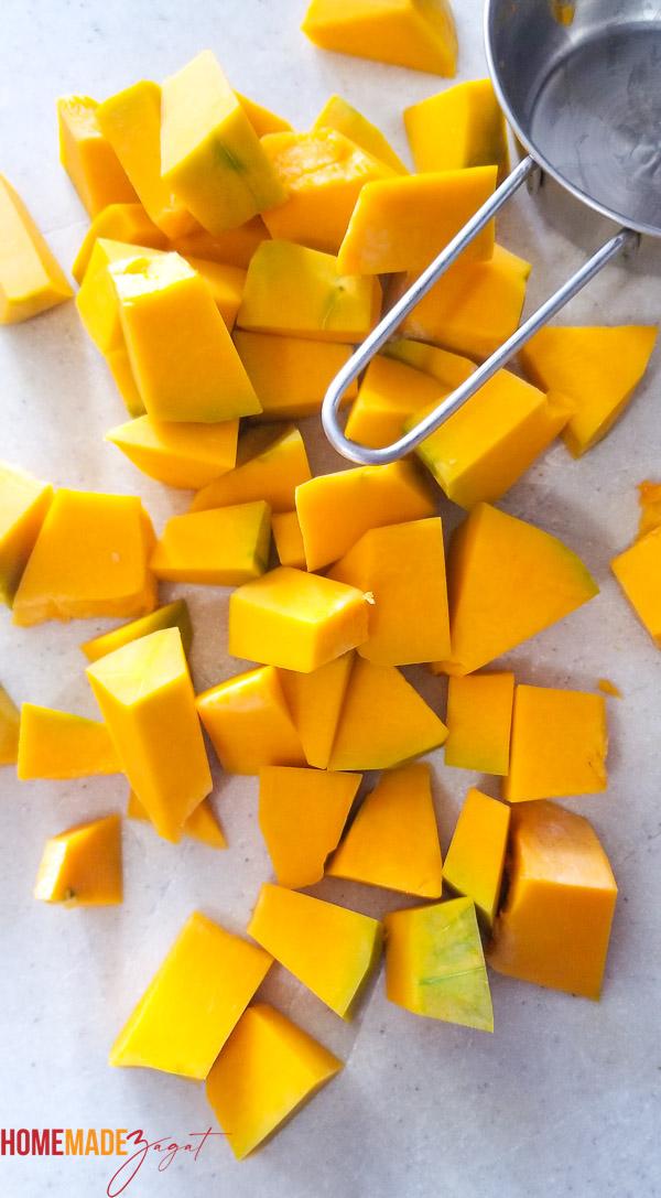 Peeled and cubed calabza pumpkin