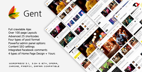 Gent - Premium & Ajax Wordpress Theme Free Download by ThemeForest.
