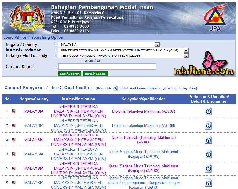 Semak Pengiktirafan Kelayakan Qualification Accreditation Di Jabatan Perkhidmatan Awam Jpa Secara Online Mia Liana