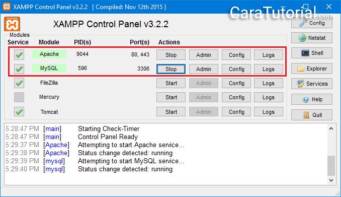 XAMPP Control Panel Runing