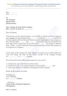request letter for change of company name in bank account