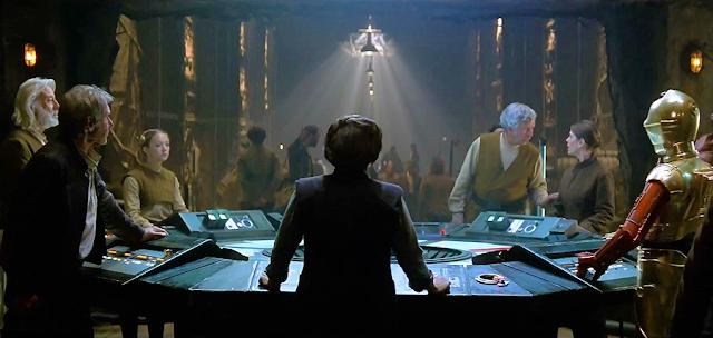 Centrul de comandă al rezistenţei în frunte cu Generalul Leia