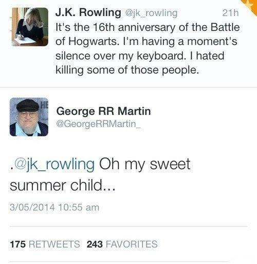 Meme de humor sobre Rowling y Martin