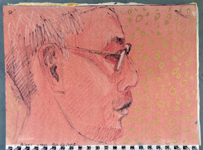 Albert Chou, paint marker and China marker in 9x12 green book